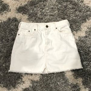 Free People • Distressed Denim Mini Skirt White
